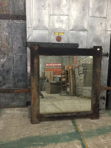 Industrial Wood Mirror