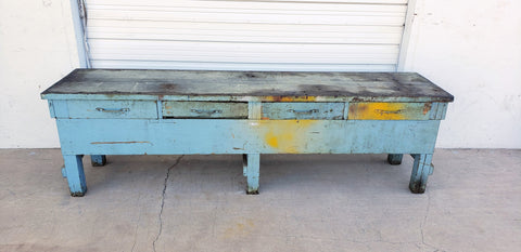 Distressed 4 Drawer Blue Work Table