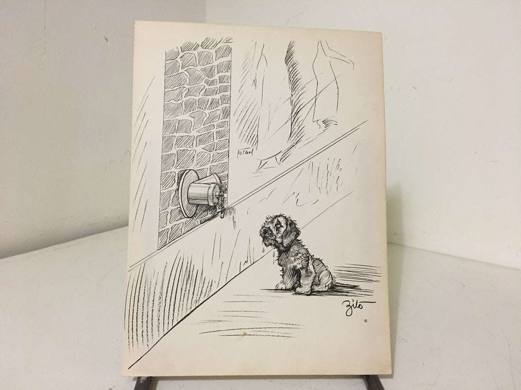 Zito Miniatv Print, 1937, Fire Hydrant on wall with perplexed dog