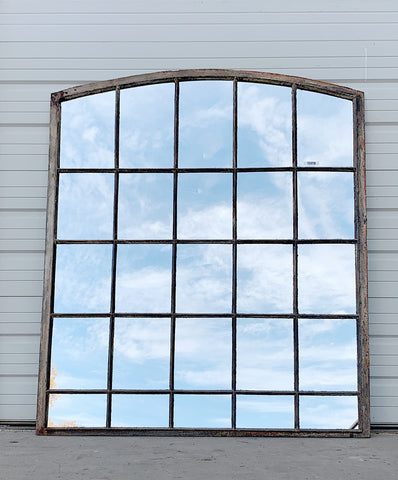 25 Pane Repurposed Arched Iron Mirror