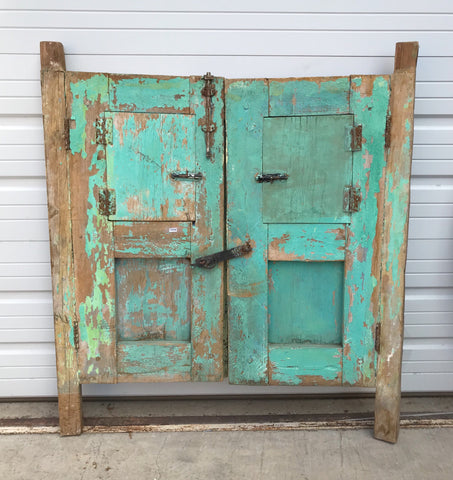 Pair of Green Barn Doors for Cabinet