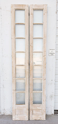 Pair of 7 Lite White Washed Wood French Doors
