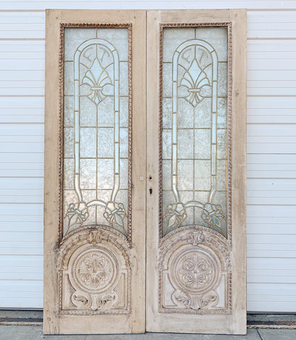 Pair of Washed Oak Leaded Glass Doors