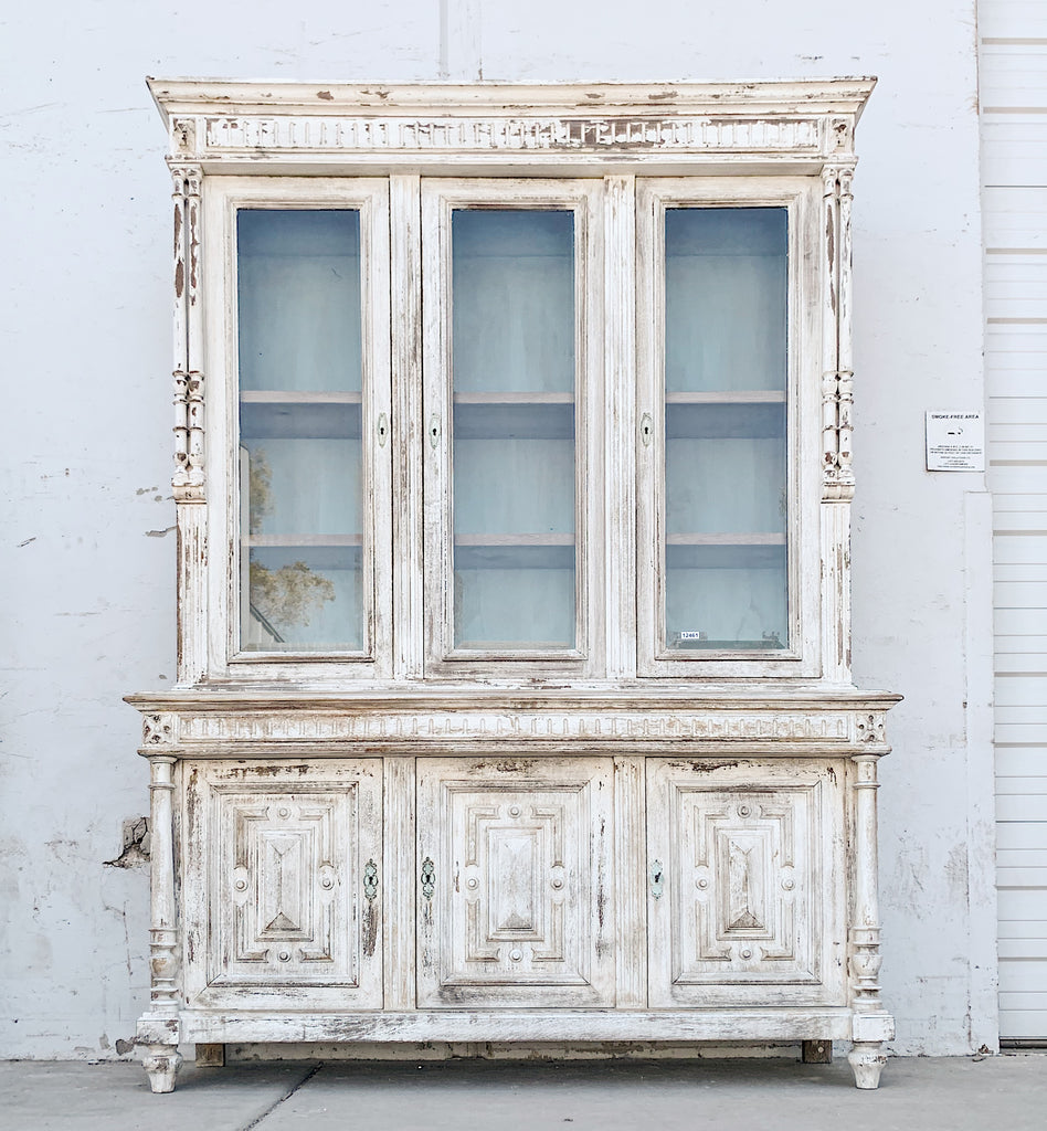 Ornate Distressed White Wood Display Cabinet