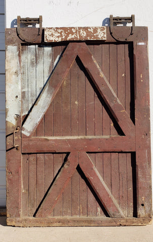 Large Rustic Barn Door with Original Rollers