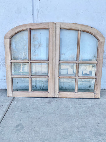 Pair of 6 Pane Arched Wood Windows
