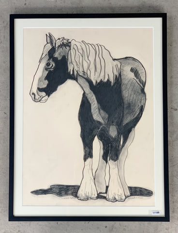 """Curious Pepper"" Clydesdale Horse Charcoal Drawing/Art"