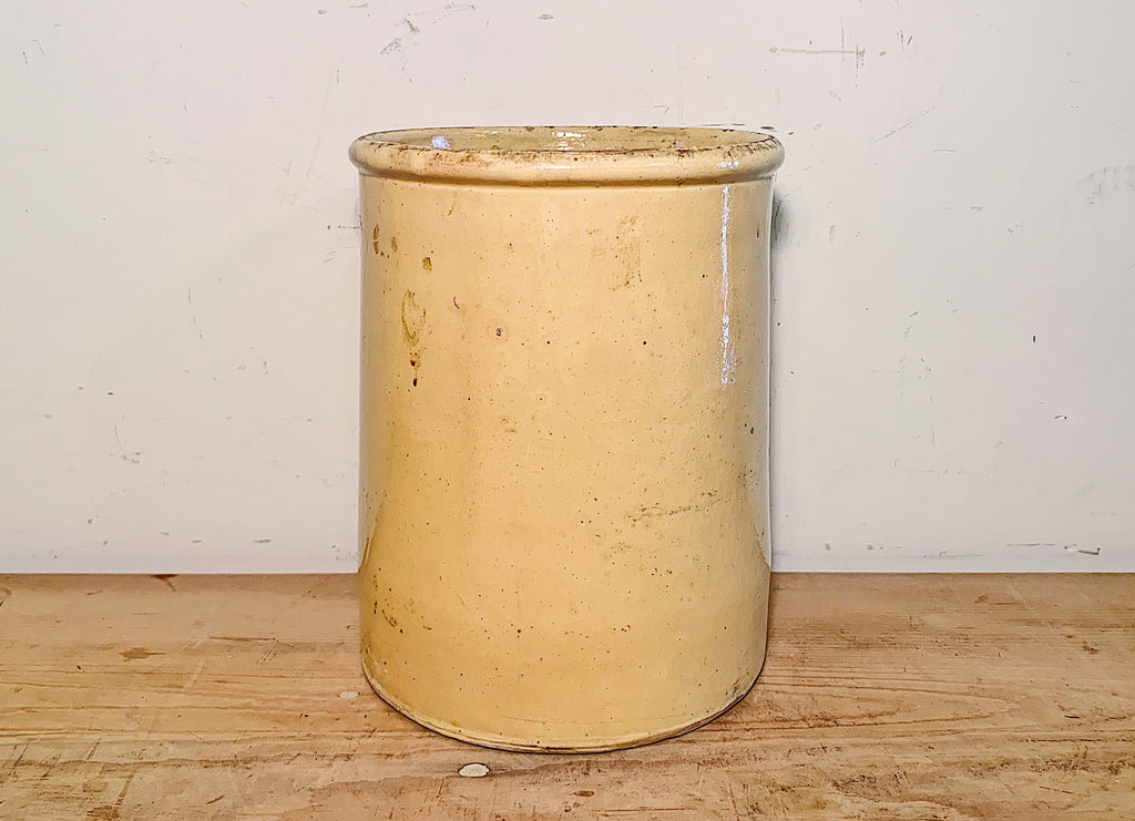 Large Yellow French Pottery Jam Crock
