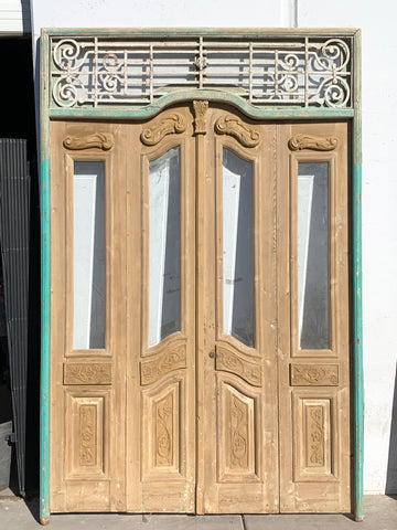 Set of 4 Carved Doors with Iron Scroll Transom