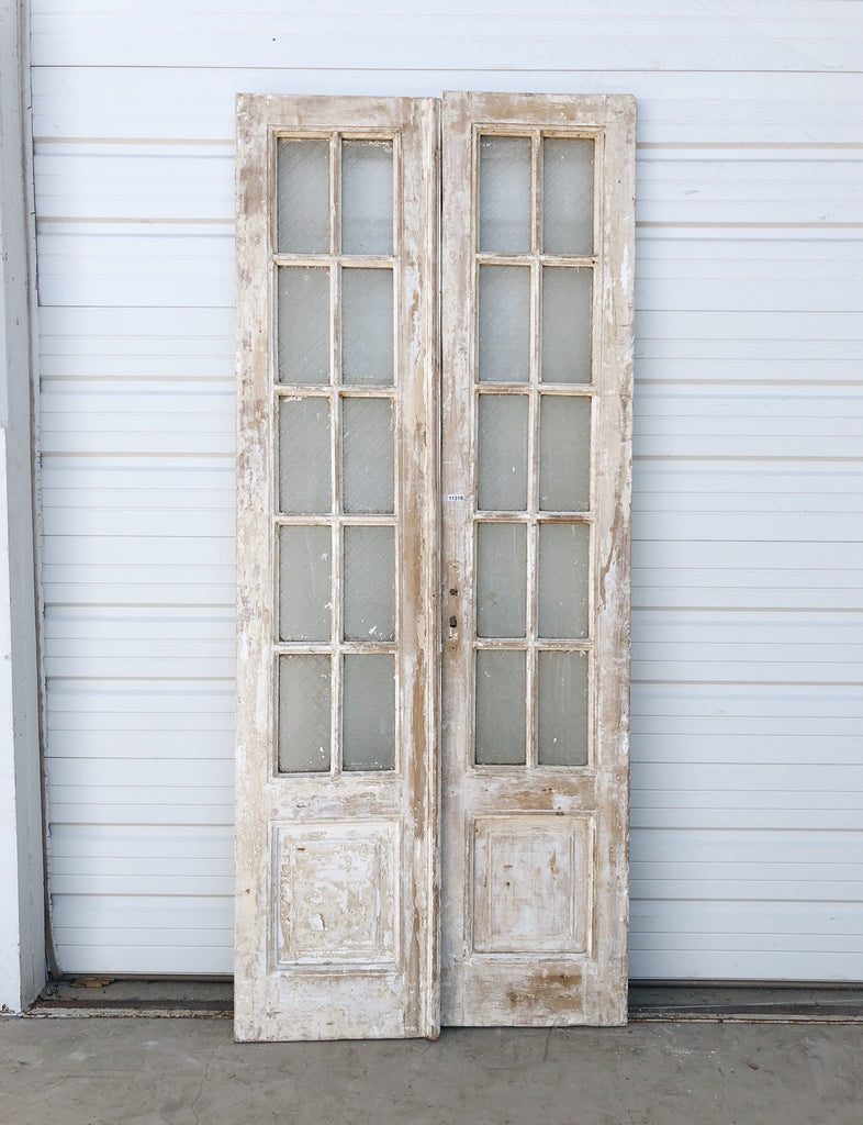 Pair of Wood Doors with 10 Glass Panes