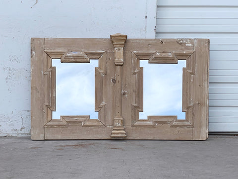 Antique Carved Natural Wood Double Mirror