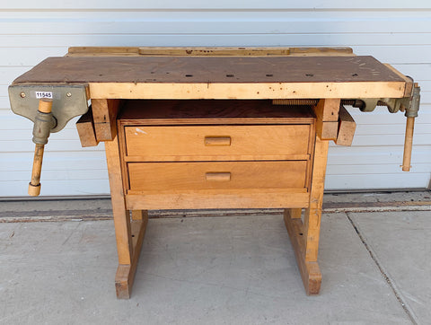 2 Drawer Antique Work Table with Vises