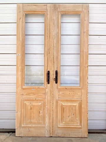 Pair of Antique Half Lite Natural Wood French Doors
