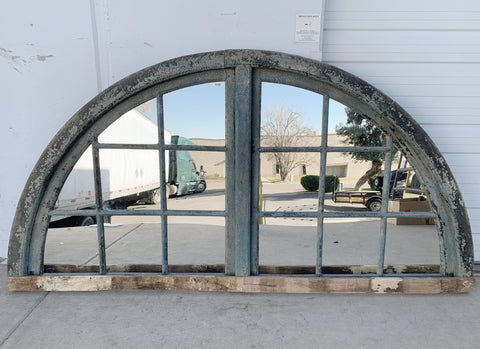 16 Pane Repurposed Lunette Mirror