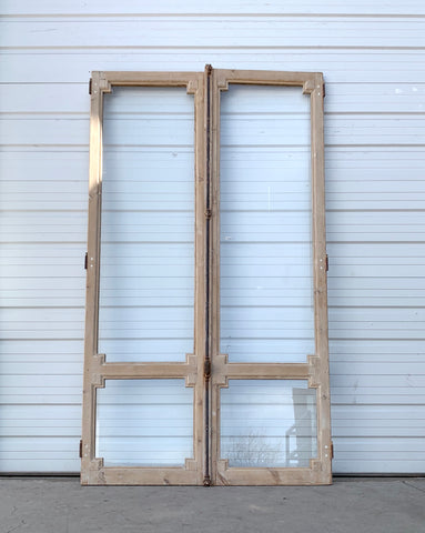 Pair of Antique Natural Wood 2 Lite French Doors
