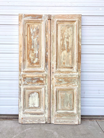 Pair of 2 Panel Antique Wood Doors