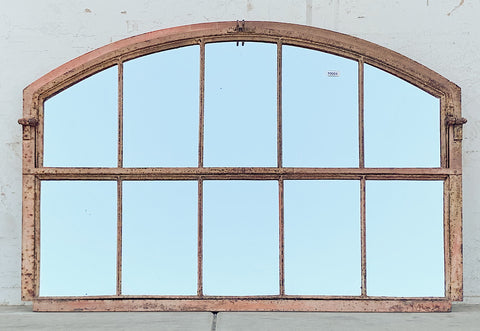 10 Pane Repurposed Arched Iron Factory Mirror