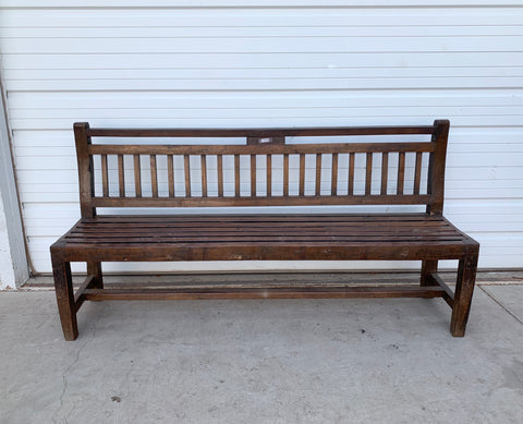 Antique Slatted Wood Bench
