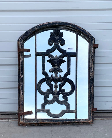 Black Arched Top Iron Mirror