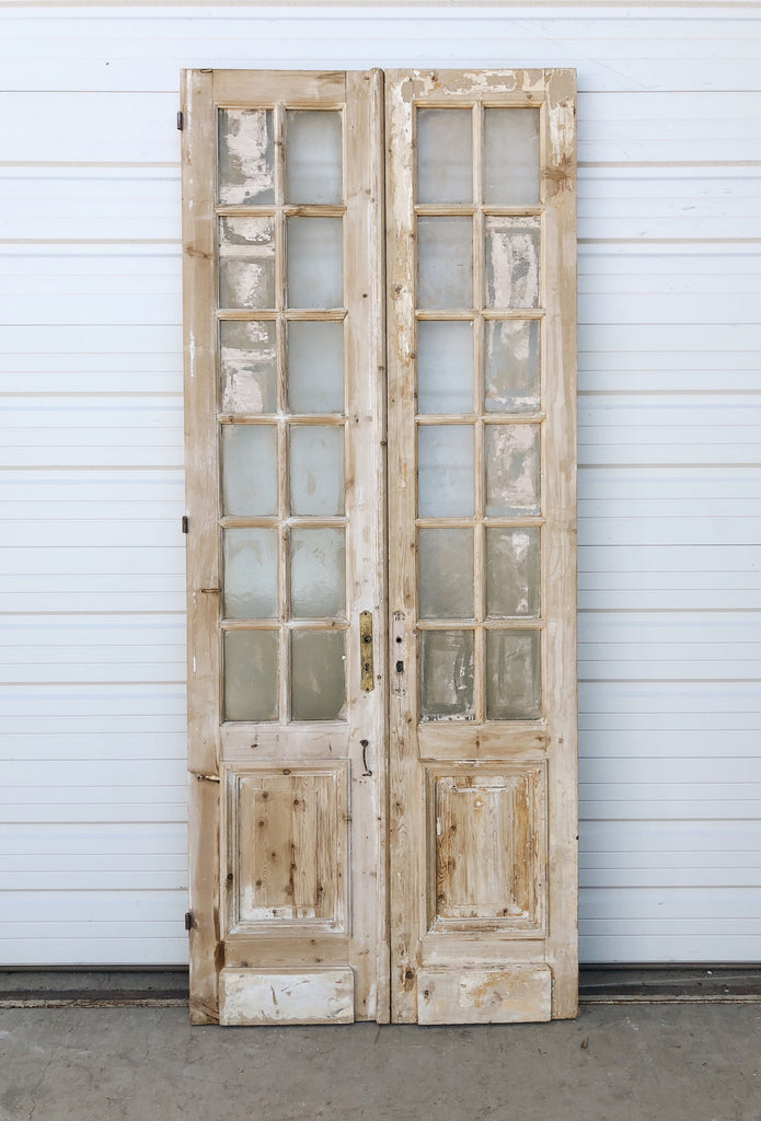 Pair of Wood Doors With Glass