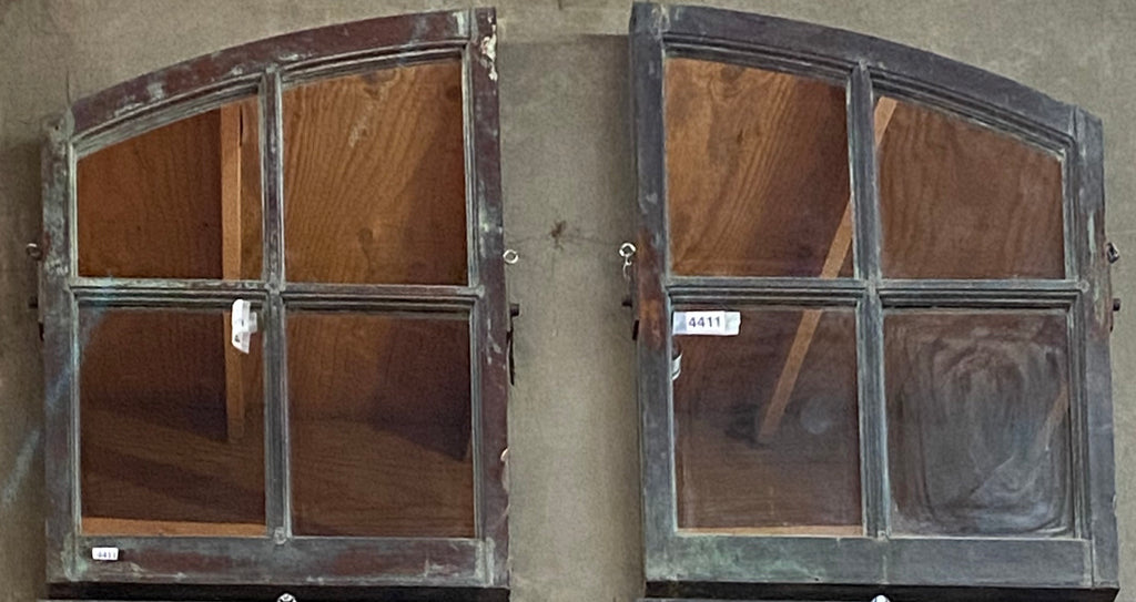 4 Pane Pair of Arch Oxidized Copper Mirrors