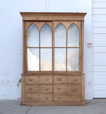 Antique Gothic Style Wood Display Cabinet