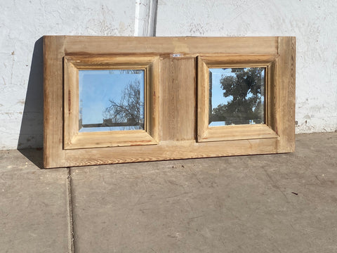 Antique Natural Wood Double Mirror