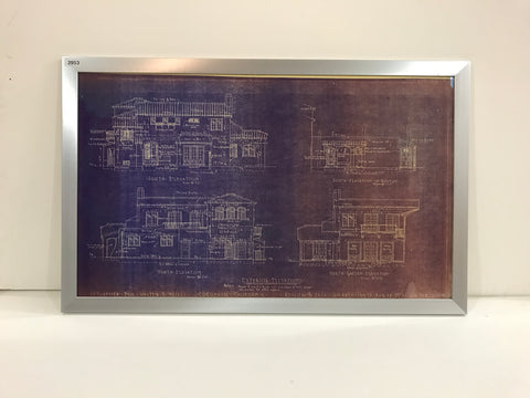 Framed Blue Print of Coronado Island Home