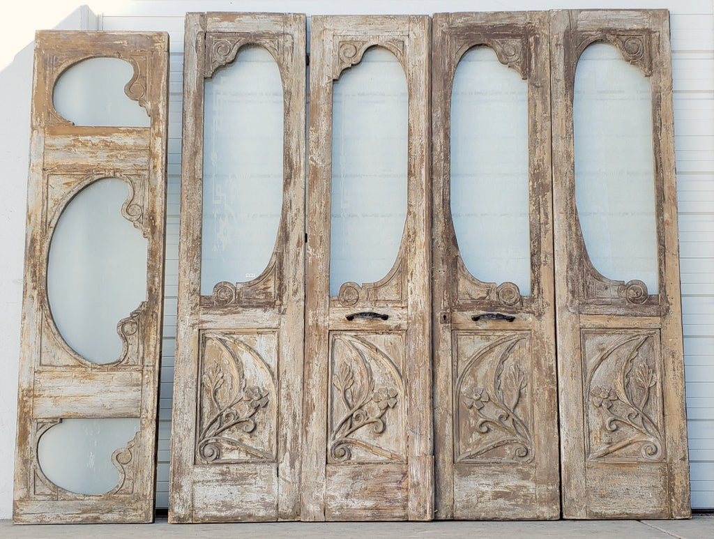 Set of 4 Carved Doors with Transom
