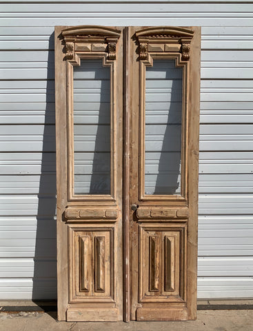 Antique Pair of Ornate Carved Natural Wood French Doors