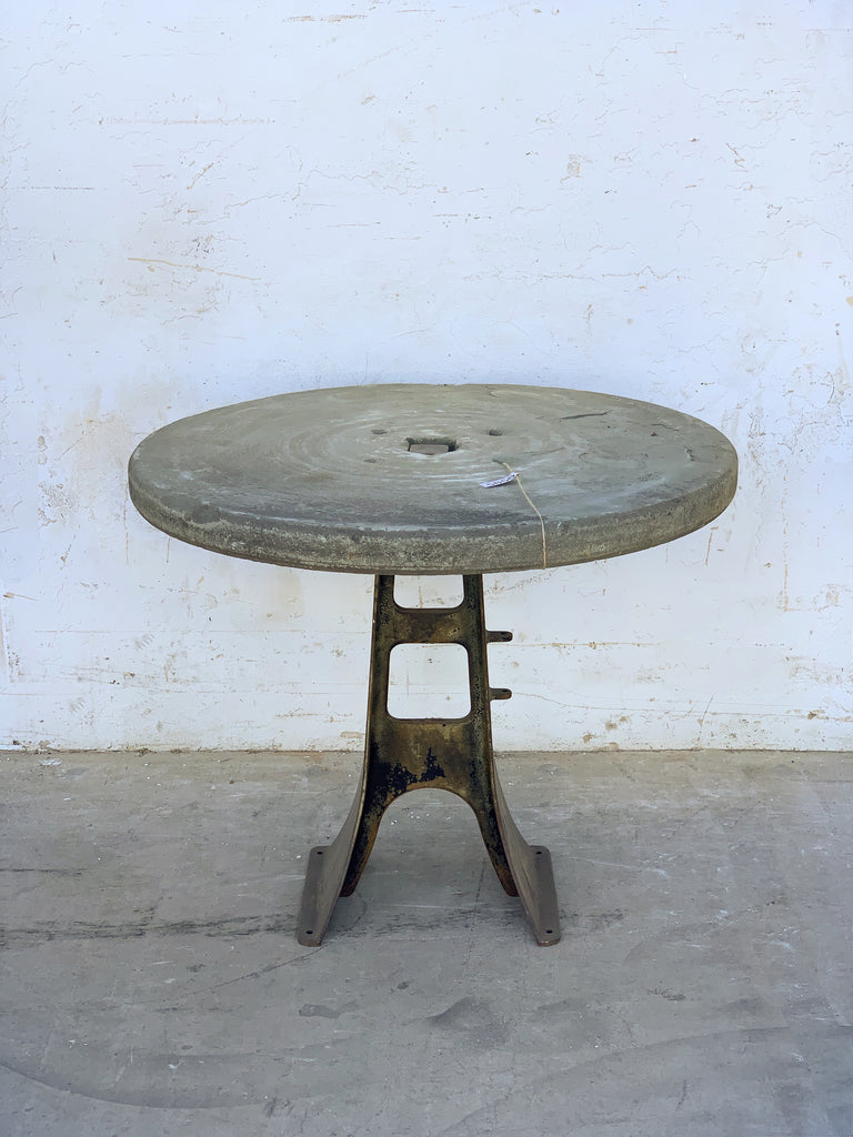 Grindstone Top Table on Industrial Iron Base