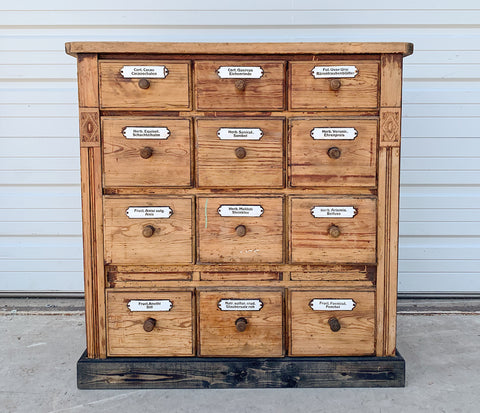 12 Drawer German Apothecary Cabinet