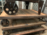Factory Coffee Table Trolley with Barn Wood Top