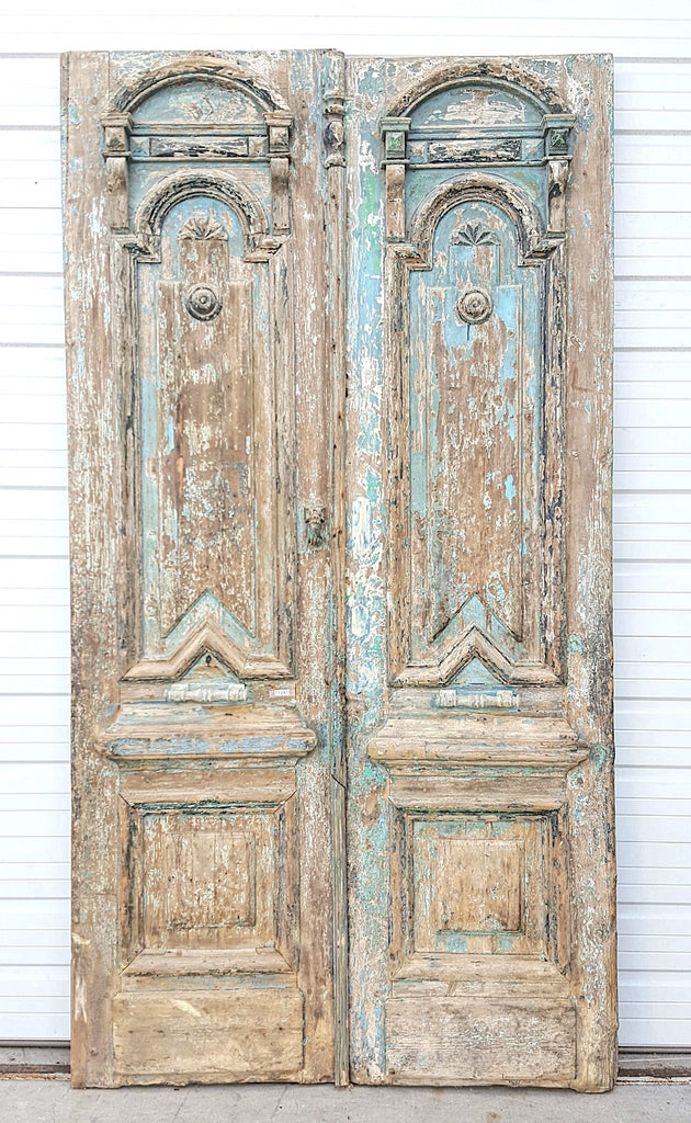 Pair of 3 Panel Ornate Carved Wood Doors