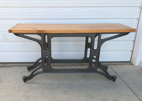 Industrial Iron and Wood Console Table
