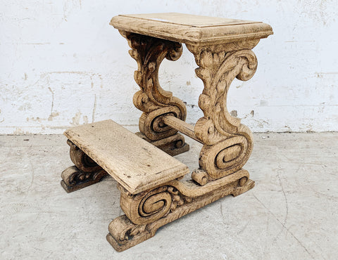 Carved Wood Prayer Bench/Stool