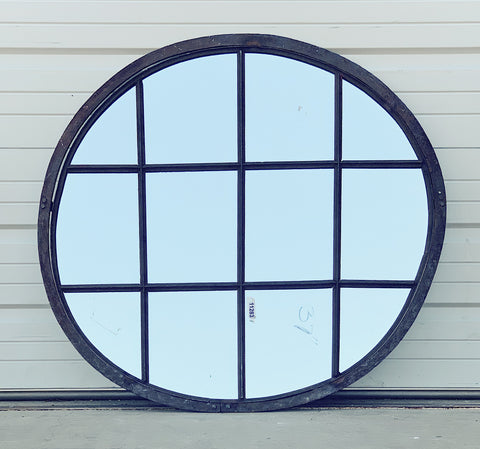 12 Pane Round Iron Mirror