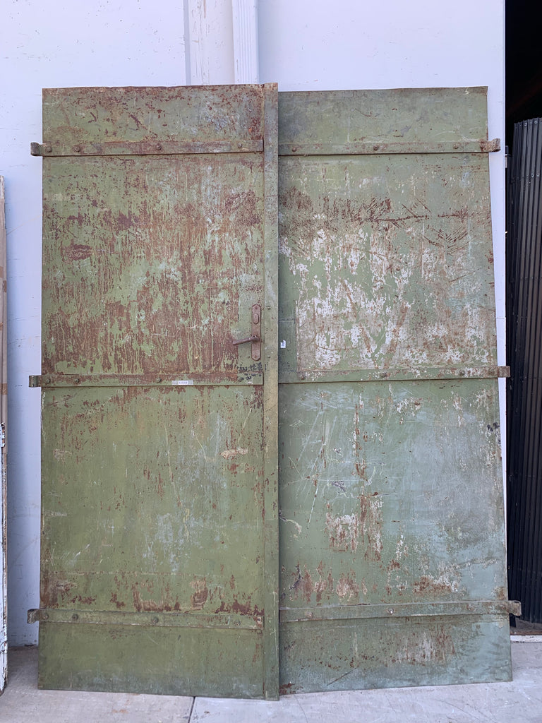 Pair of Large Green Iron Doors