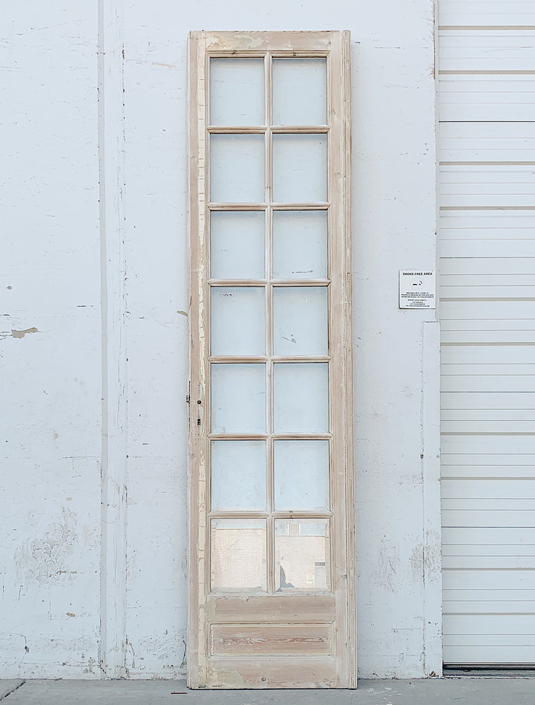 Single 14 Lite Whitewashed Wood French Door