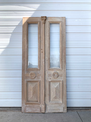 Pair of Antique Art Deco Natural Wood French Doors