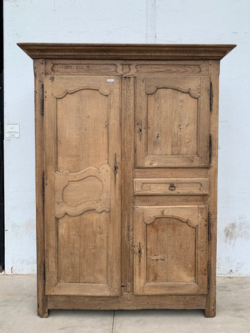 French Bleached Wood Armoire
