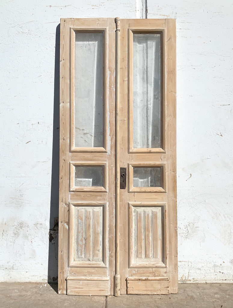 Pair of Antique 2 Beveled Lite Washed Wood French Doors