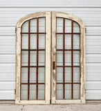Antique Pair of 15 Lite Painted Arched French Doors