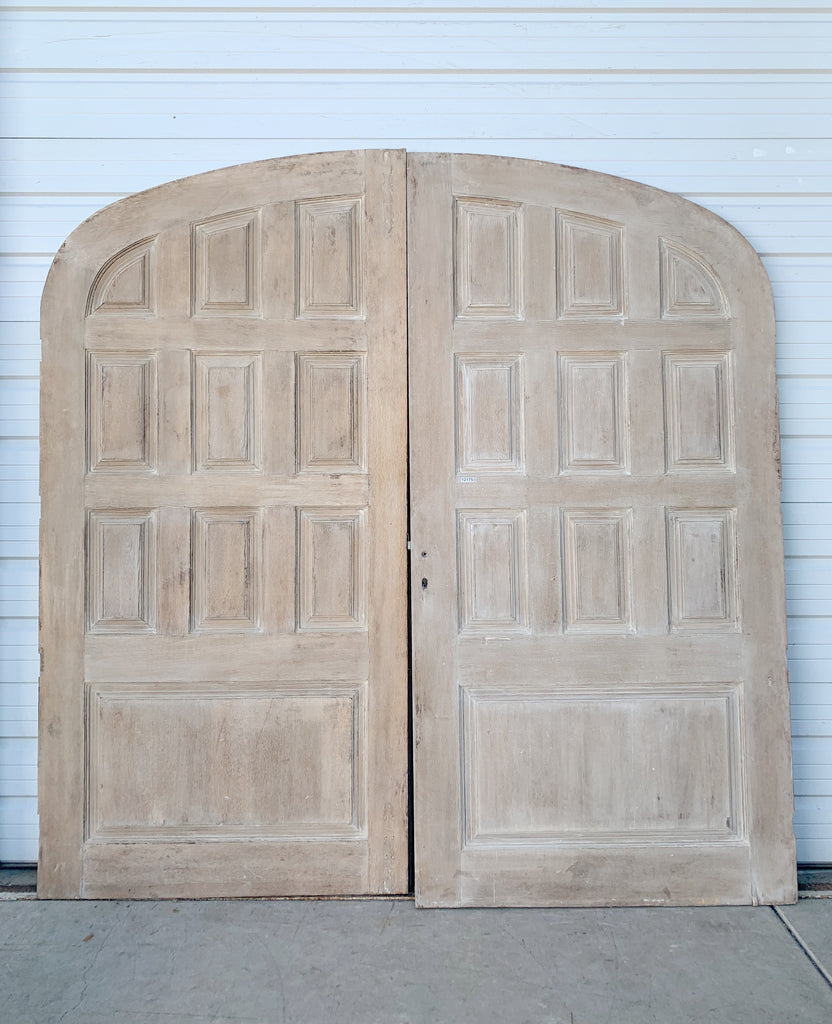 Pair of Bleached Oak 10 Panel Doors