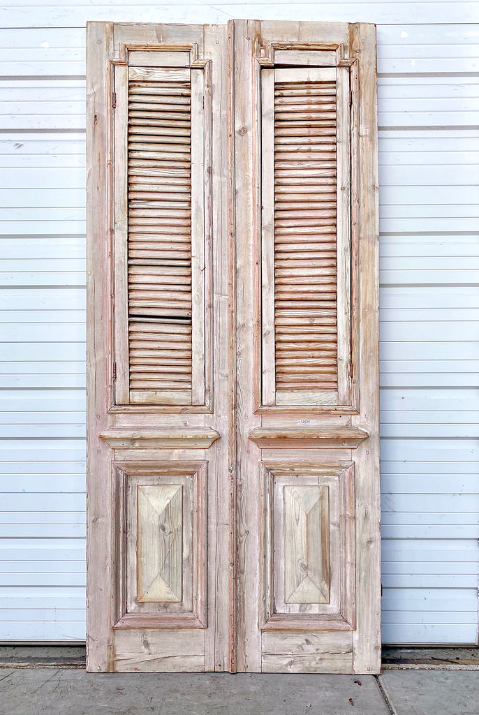 Pair of Antique Wooden Shuttered Doors