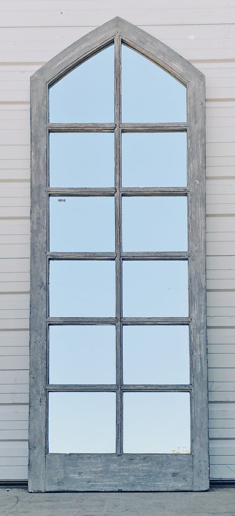 12 Pane Gray Gable Mirror