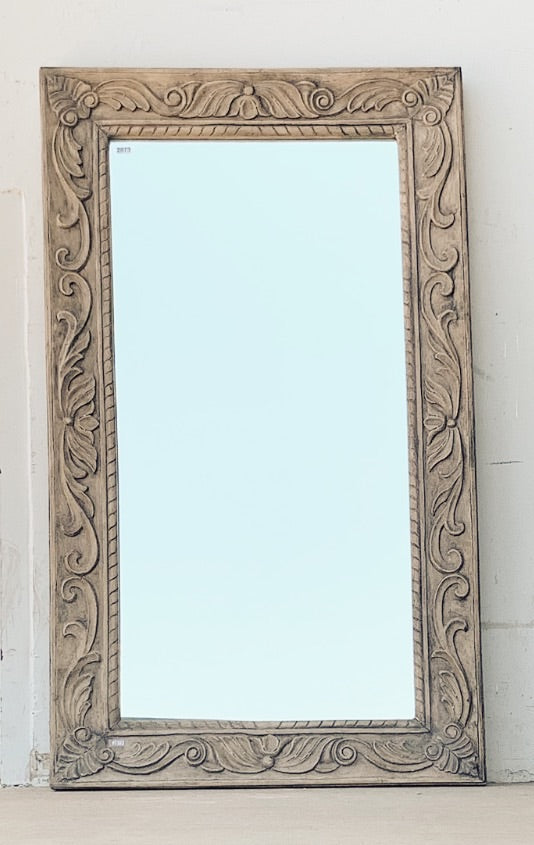 Single Pane Wooden Mirror