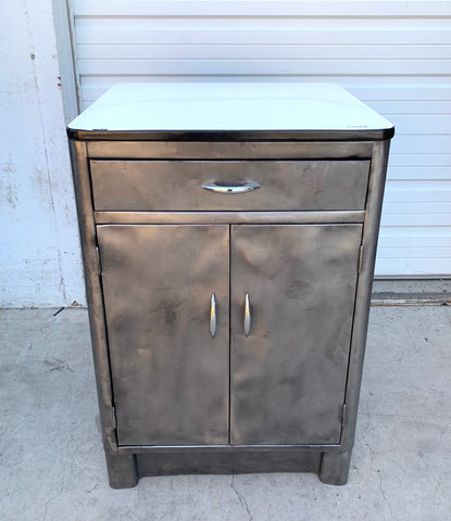 Stripped Steel Cabinet with Porcelain Top