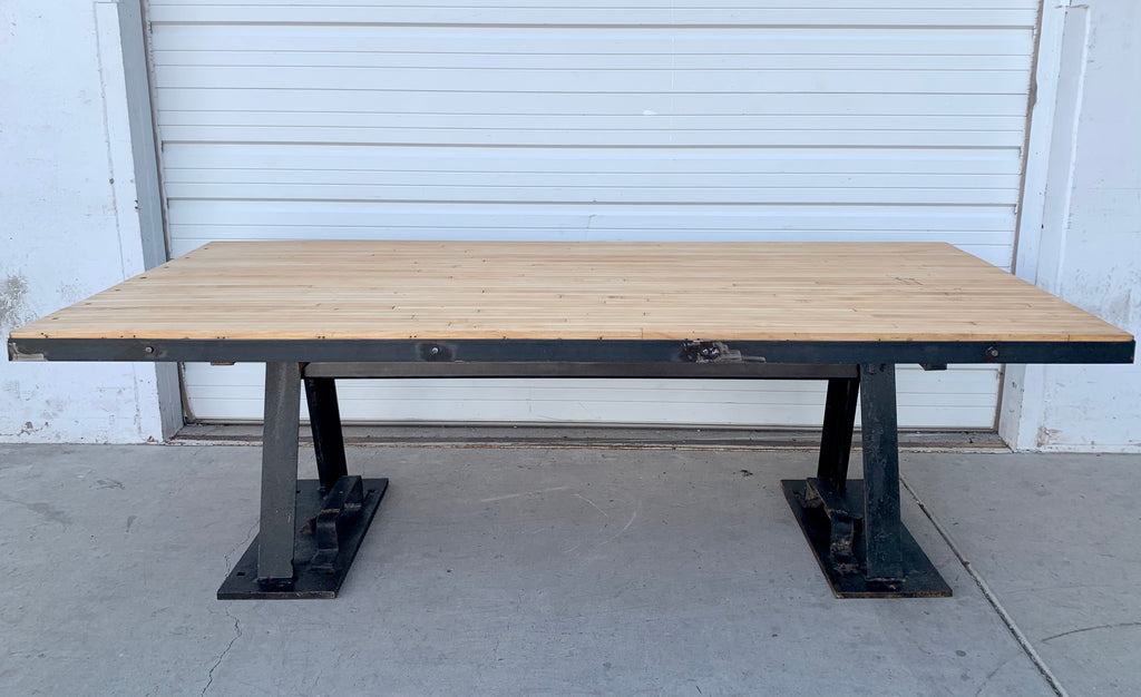 Reclaimed Bowling Alley Drafting Table w. Iron Base