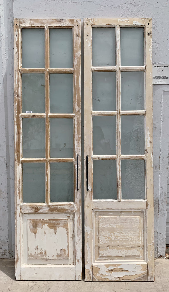 Pair of 8 Lite White Washed Wood French Doors